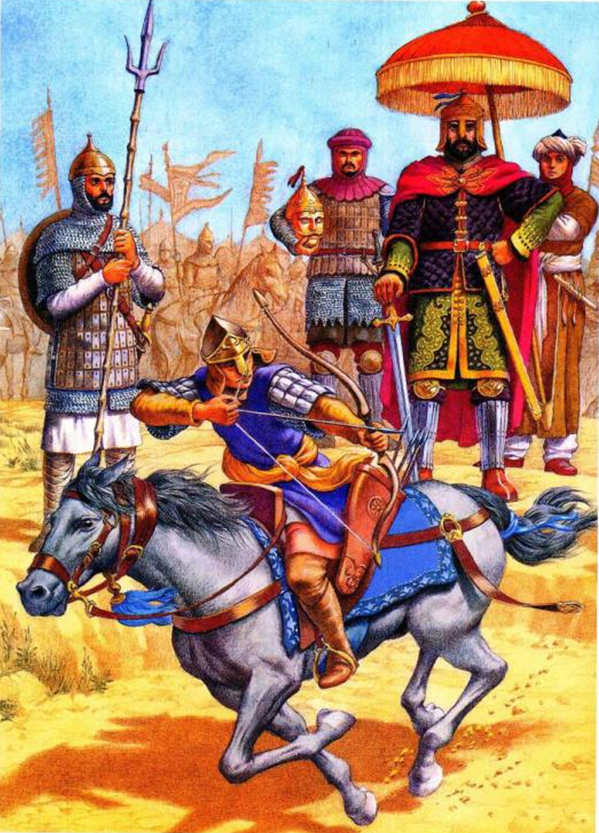 Ejercicios de ghulam y mamelucos delante del sultán Salal al-Din al-Ayyubí (Saladino) en Egipto