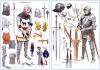 Equipamiento de un caballero u hombre de armas ingles. l izquierda en 1390 a la derecha 1450. Autor Graham Tuner