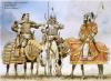 Guerreros de la estepa siglos XI - XII: 1 jefe mongol; 2 guerrero naimar; 3 noble de Kara Kitan. Autor Angus McBride para Osprey