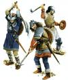 Guerreros escoceses siglo XIV: 1 highlander o de las tierras altas con el hacha lochaber, cota de malla, yelmo capelina o kattle hat y escudo redondo a la espalda. 2 infante con halberd (mitad martillo y pico), lleva casco cervelliere, lleva cota de malla y acolchado por encima. 3 guerrero con hacha normal, acolchado y rodilleras, un casco semiesférico, lleva una pequeña rodela llamada scottish targe.