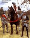 Guerreros ingleses en 1450: 1 arquero normando, 2 John Talbot conde de Shrewsbury, 3 hombre de armas armado con una voulge y ligeramente protegido