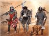 Infantería francesa 1337-60: 1 miliciano del norte, lleva cota de malla y casco ensaladera, lleva un vouge o arma astil ; 2 sargento de Champagne, lleva cota de malla placas en las piernas, casco semiesferico, un un gisarme o arma astil. 3 ballestero provenzal, lleva dos ballestas y una carretilla para transportar los virotes. Autor Angus McBride para Osprey