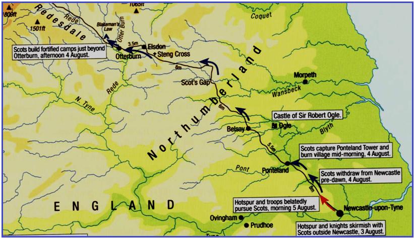 Mapa del regreso de la expedición escocesa del conde Douglas