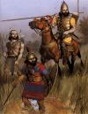 Tropas asirias en Babilonia principios del siglo VII AC: 1 jinete pitalli shepe o guardia personal; 2 infante neo-hitita con irtu o disco pectoral de bronce, y un casco con cimera; 3 auxiliar arquero sin protección. Autor Angus McBride para Osprey
