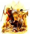 Ejercito tebano en el 362 AC: 1 peltasta tesaliano; 2 peltasta aeniano; 3 oficial tebano herido con un casco boecio. Autor Angus McBride