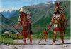 Holplita con su sirviente o skenoporos siglo V AC. Lleva dibujado en el blason Gorgona o cabeza de la Hidra de Cotinto pero que se pasó a todas las polis, el portador va armado lo que significa que sería empleado como psiloi