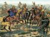 Batalla de Cornus en Cerdeña 215 AC. Las tropas sardo-púnicas bajo el mando del sardo Hammpsicora y cartaginés Asdúbal el Calvo se enfrentan a los romanos mandados por Tito Manlio, con victoria romana. Autor Giuseppe Rava