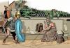 Muerte de Arquímedes en el 211 AC. Un soldado romano lo asesinó mientras estaba abstraído pintando círculos en el suelo. Autor Ángel Todaro