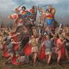 Romanos atacando a elefantes púnicos. Autor Ángel García Pinto