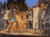 Celebración de una victoria romana siglo VII AC. Guerreros romanos con pectoral cuadrado y escudoas metálicos alargados, llevan escudos capturados en forma alargada o scutum, se ve un sacerdote o flamen oficiando la ceremonia. Autor Richard Hook