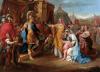 Coroliano recibiendo a las madronas romanas. Éstas encabezadas por su esposa y por su madre le suplican que levante el asedio de Roma. Óleo de Raphael Lamar