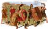 Ejército romano-etrusco siglo VI AC: 1 soldado clase I; 2 soldado clase II; 3 soldado clase IV, 4 hondero cse V; 5 cornicen o trompetero