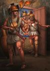 Guerreros romanos siglo V AC, se supone que es Cayo Marcio ''Coriolano'' entrando en la ciudad de Corioli. Autor Ángel García Pinto.