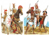 Guerreros samnitas finales siglo IV: 1 jinete campano, 2 infante samnita, 3 infante lucano. Autor Richard Hook