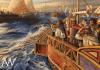 Flota vándala de Genserico rumbo a Roma 455. En primer plano Genserico con armadura) cruzando el Mediterráneo para saquear Roma. Autor Radu Oltean para Ancient Warfare Magazine