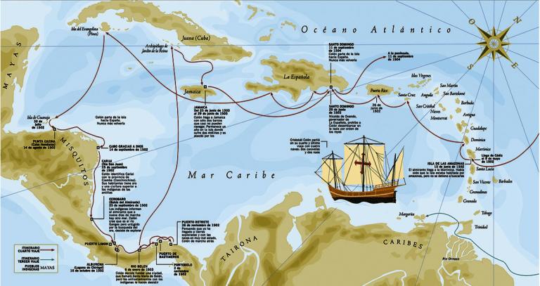 Cuarto viaje de Cristóbal Colón (102-04). Itinerario - Arre caballo!
